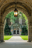 Archway to the campus of the University of Michigan Law School. On the far back you can see the Cook Legal Research Building. It has a beautiful entrance which leads to the huge reading room with its