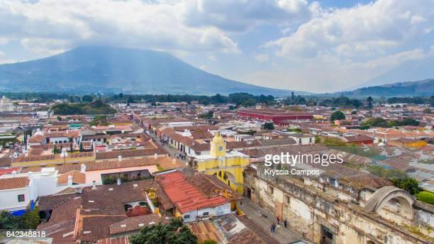 Arco de Santa Catalina (Santa Catalina Arch) and Antigua City in Guatemala, High angle view