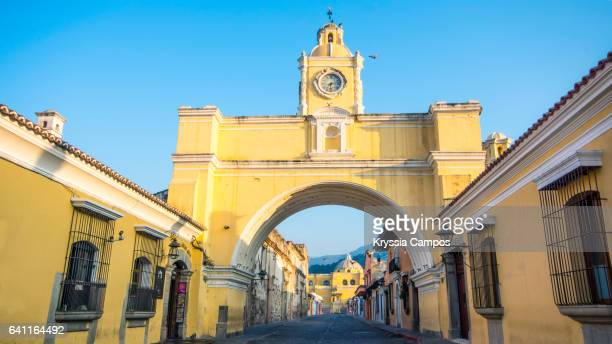 Arco de Santa Catalina (Santa Catalina Arch) at early morning in Antigua Guatemala