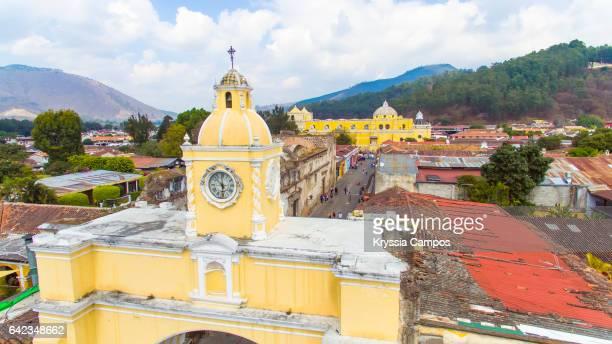 Arco de Santa Catalina (Santa Catalina Arch) in Antigua Guatemala, High angle view