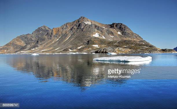 Arctic barren mountain reflection and floating ice