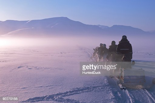 Arctic Expedition on Snowmobiles in Spitzbergen, Norway