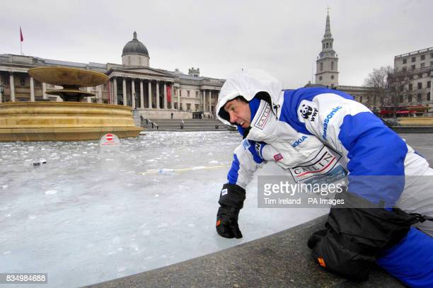 Arctic explorer Pen Hadow in London's Trafalgar Square ahead of his latest expedition to the Arctic with the Catlin Arctic Survey to gather...