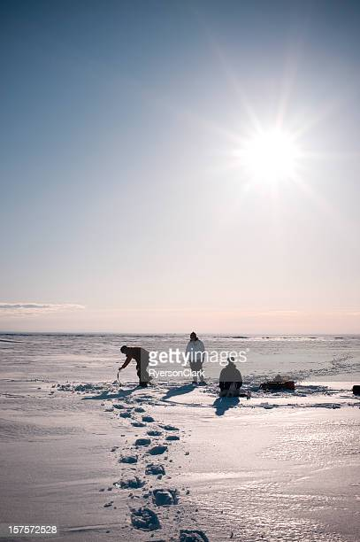 Arctic Ice Fishing, Yellowknife, Northwest Territories, Canada.