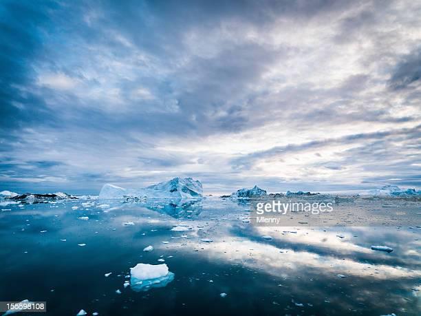 Arctic Icebergs Groenland Ilulissat Ice Fjord lever du soleil