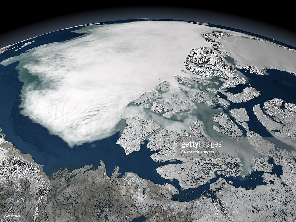 Arctic sea ice above North America on September 27, 2005, viewed over the Beaufort Sea.