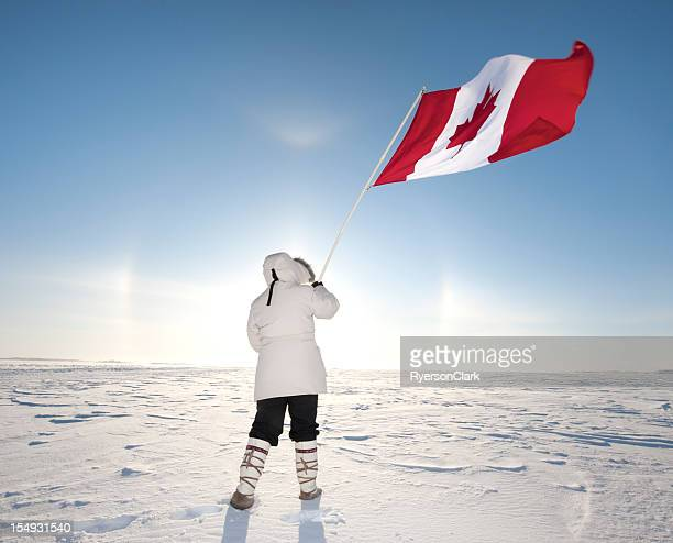 Arctic Sundog or Parhelion and Canadian Flag.