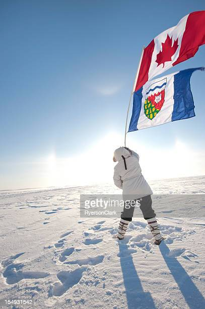 Arctic Sundog or Parhelion with Canadian and Northwest Territories Flags.