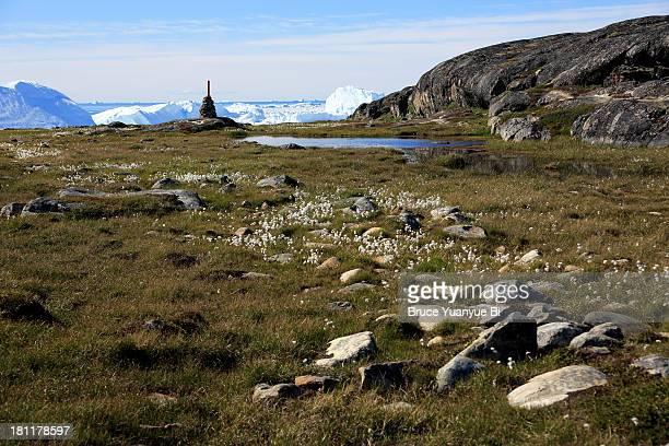 Arctic tundra terrain and Ilulissat Icefjord