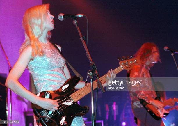 D'arcy Wretzky of Smashing Pumpkins performing on stage at Brixton Academy London 25 September 1993