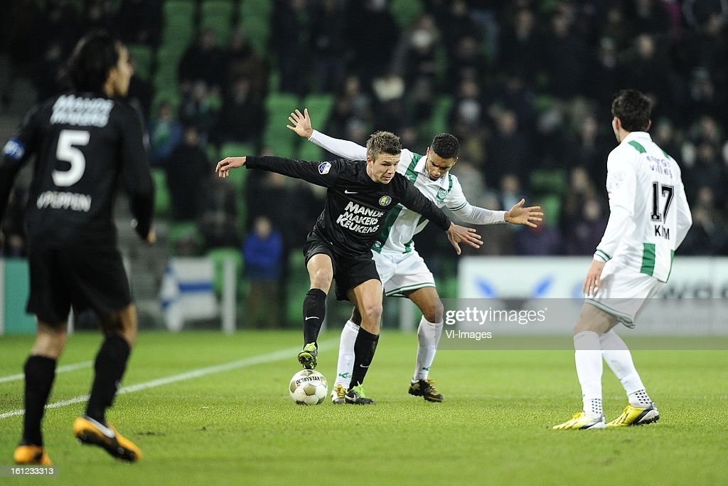 Ard van Peppen of RKC Waalwijk, Mart Lieder of RKC Waalwijk, Johan Kappelhof of FC Groningen, Andraz Kirm of FC Groningen, during the Dutch Eredivisie match between FC Groningen and RKC Waalwijk at the Euroborg on february 9, 2013 in Groningen, The Netherlands