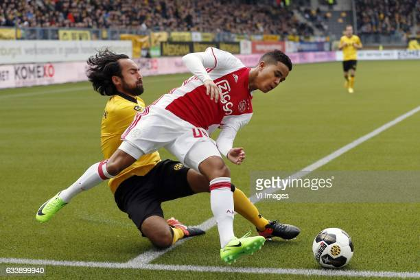 Ard van Peppen of Roda JC Justin Kluivert of Ajaxduring the Dutch Eredivisie match between Roda JC Kerkrade and Ajax Amsterdam at the Parkstad...