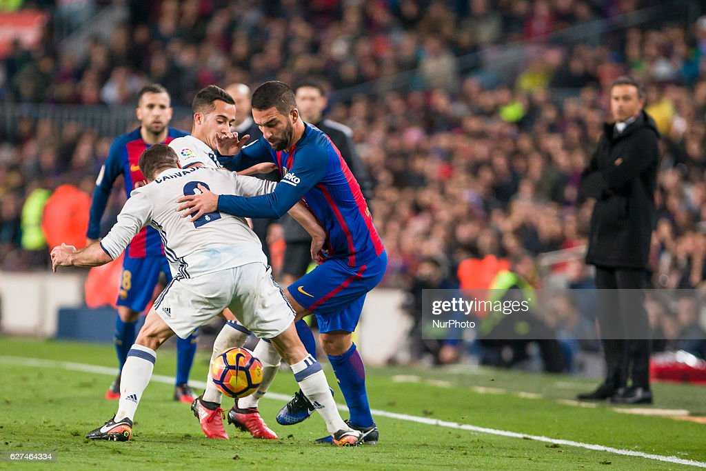 Arda Turan Daniel Carvajal and Lucas Vazquez during the match between FC Barcelona vs Real Madrid for the round 14 of the Liga Santander played at...