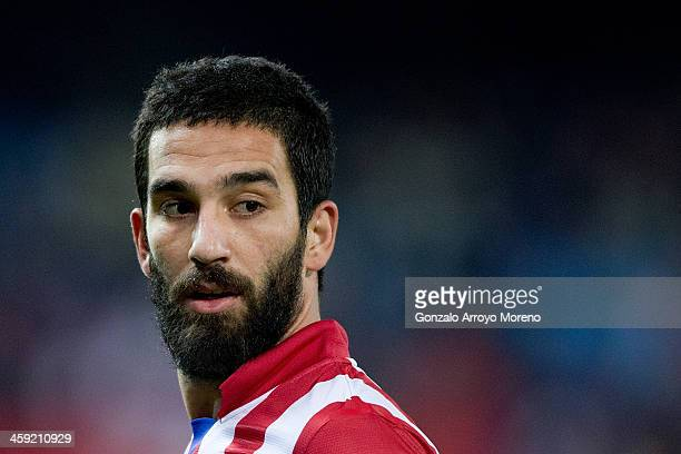 Arda Turan of Atletico de Madrid looks on during the La Liga match between Club Atletico de Madrid and Levante UD at Vicente Calderon Stadium on...