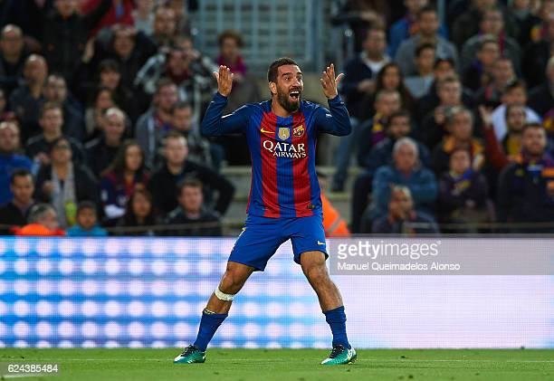 Arda Turan of Barcelona reacts during the La Liga match between FC Barcelona and Malaga CF at Camp Nou stadium on November 19 2016 in Barcelona Spain