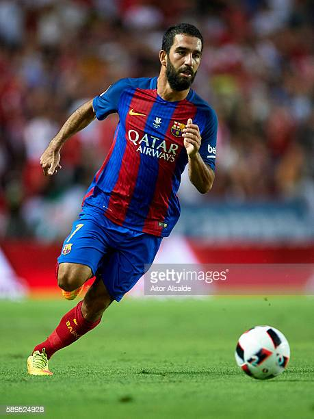 Arda Turan of FC Barcelona in action during the match between Sevilla FC vs FC Barcelona as part of the Spanish Super Cup Final 1st Leg at Estadio...