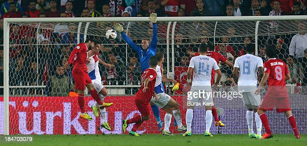 Arda Turan of Turkey heads towards goal during the FIFA 2014 World Cup Qualifier match at the Sukru Saracoglu Stadium on October 15 2013 in Istanbul...