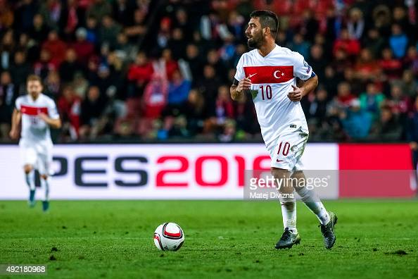 Arda Turan of Turkey in action during the UEFA EURO 2016 Group A Qualifier match between Czech Republic and Turkey at Letna Stadium on October 10...
