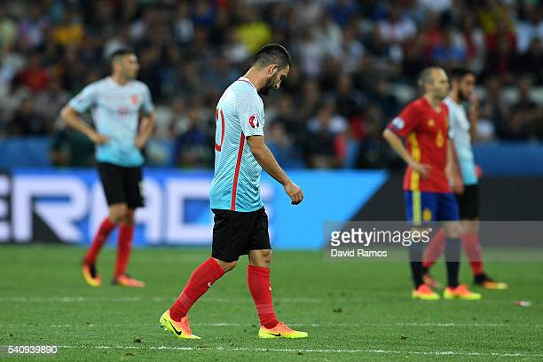 Arda Turan of Turkey looks dejected during the UEFA EURO 2016 Group D match between Spain and Turkey at Allianz Riviera Stadium on June 17 2016 in...
