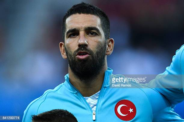 Arda Turan of Turkey looks on before the kick off during the UEFA EURO 2016 Group D match between Spain and Turkey at Allianz Riviera Stadium on June...