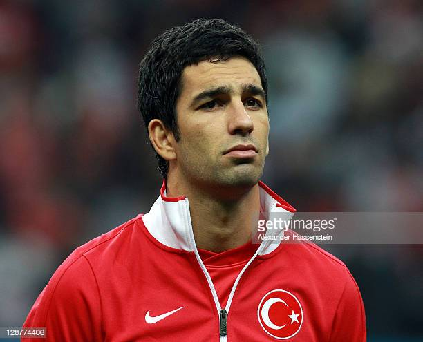 Arda Turan of Turkey pose at the line up prior the UEFA EURO 2012 Group A qualifying match between Turkey and Germany at Tuerk Telekom Arena on...
