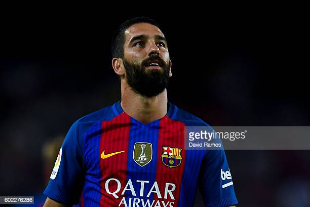 Ardan Turan of FC Barcelona looks on during the La Liga match between FC Barcelona and Deportivo Alaves at Camp Nou stadium on September 10 2016 in...