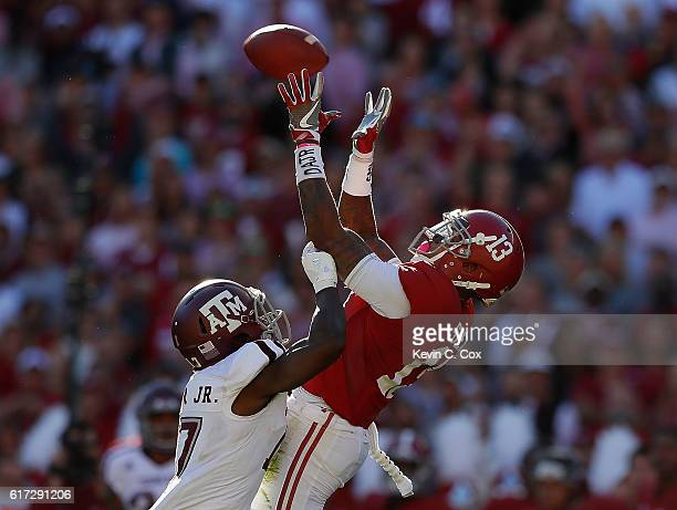 ArDarius Stewart of the Alabama Crimson Tide pulls in this reception against Alex Sezer of the Texas AM Aggies at BryantDenny Stadium on October 22...