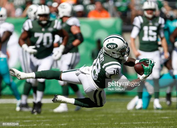 ArDarius Stewart of the New York Jets makes a catch against the Miami Dolphins during the first half of an NFL game at MetLife Stadium on September...