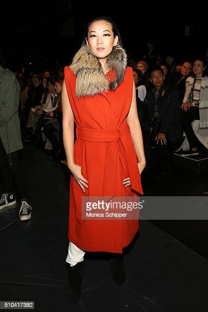 Arden Cho attends the Thomas Wylde Fall 2016 fashion show during New York Fashion Week The Shows at The Dock Skylight at Moynihan Station on February...