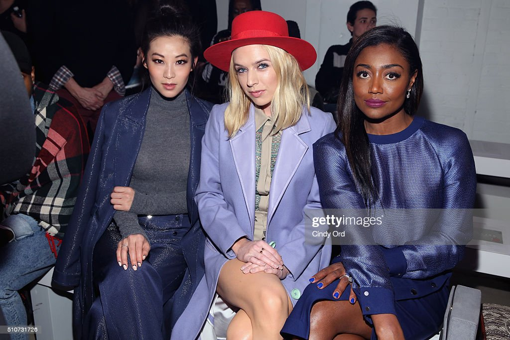 Arden Cho ZZ Ward and Patina Miller attend the Georgine Fall 2016 fashion show during New York Fashion Week The Shows at The Gallery Skylight at...