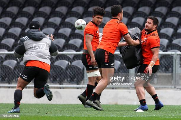 Ardie Savea and Kane Hames of the All Blacks look on during a New Zealand All Blacks Training Session on August 22 2017 in Dunedin New Zealand