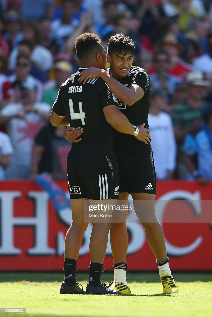 <a gi-track='captionPersonalityLinkClicked' href=/galleries/search?phrase=Ardie+Savea&family=editorial&specificpeople=8836502 ng-click='$event.stopPropagation()'>Ardie Savea</a> and Rieko Ioane of New Zealand celebrate victory during the 2016 Sydney Sevens cup semi final match between New Zealand and Fiji at Allianz Stadium on February 7, 2016 in Sydney, Australia.