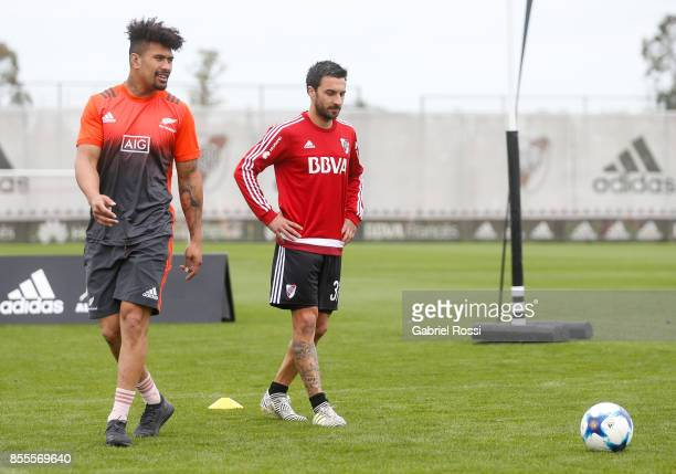 Ardie Savea of All Blacks and Ignacio Scocco of River Plate look on during the New Zealand Rugby Championship Media Day ahead of the match against...