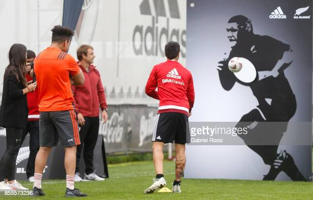 Ardie Savea of All Blacks and Ignacio Scocco of River Plate play a game during the New Zealand Rugby Championship Media Day ahead of the match...