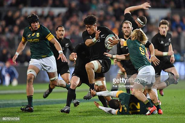 Ardie Savea of the All Blacks charge forward during the Rugby Championship match between the New Zealand All Blacks and the South Africa Springboks...