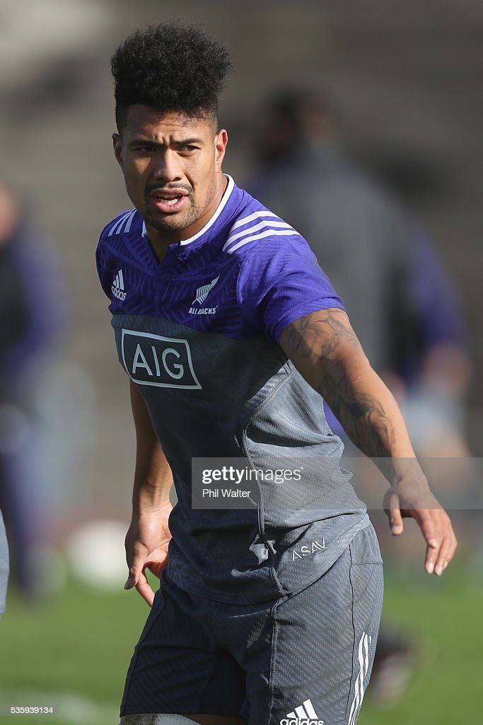 Ardie Savea of the All Blacks during a New Zealand All Blacks training session at Trusts Stadium on May 31, 2016 in Auckland, New Zealand.