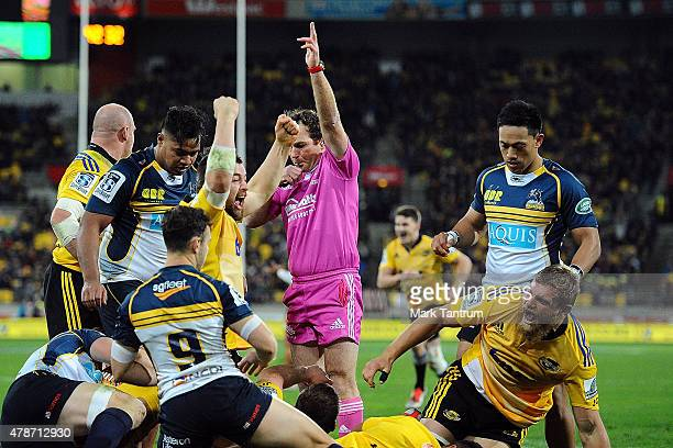 Ardie Savea of the Hurricanes celebrates a try during the Super Rugby Semi Final match between the Hurricanes and the Brumbies at Westpac Stadium on...