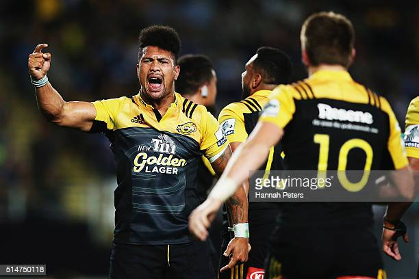 Ardie Savea of the Hurricanes celebrates after winning the round three Super Rugby match between the Blues and the Hurricanes at Eden Park on March...