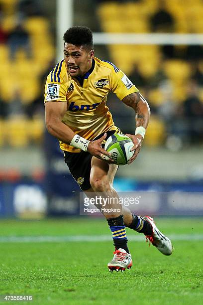Ardie Savea of the Hurricanes in action during the round 14 Super Rugby match between the Hurricanes and the Chiefs at Westpac Stadium on May 16 2015...