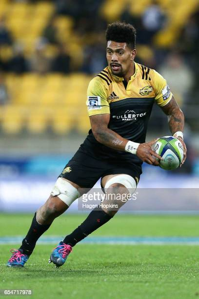 Ardie Savea of the Hurricanes in action during the round four Super Rugby match between the Hurricanes and the Highlanders at Westpac Stadium on...