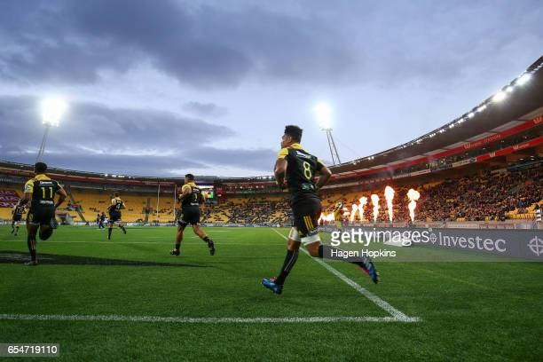 Ardie Savea of the Hurricanes takes the field during the round four Super Rugby match between the Hurricanes and the Highlanders at Westpac Stadium...