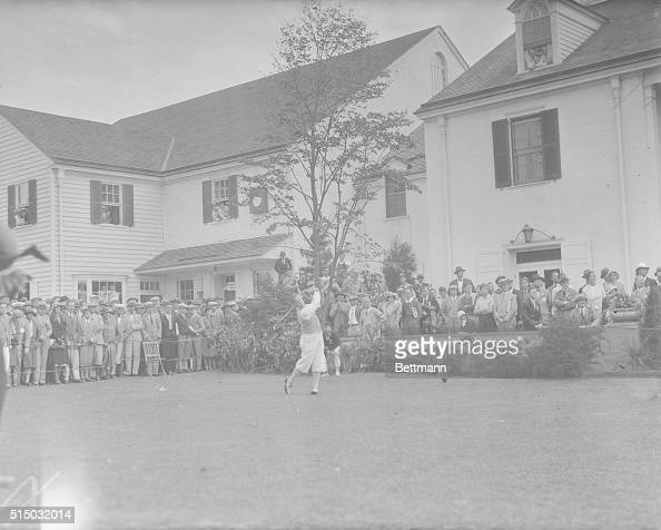 Bobby Jones drives off tee in final round of US National Amateur Golf Championship at Merion Cricket Club Ardmore Pa