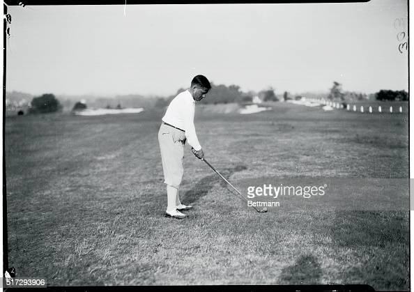 Bobby Jones preparing his shot during round of play in the National Amateur Golf Championship tourney at Merion Cricket Club