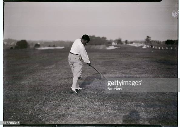 Bobby Jones teeing off during round of play in the National Amateur Golf Championship tourney at Merion Cricket Club