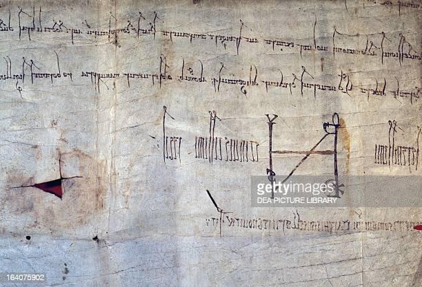 Arduino of Ivrea's monogram at the bottom of a document from 1003 Italy 11th century Turin Archivio Di Stato Di Torino
