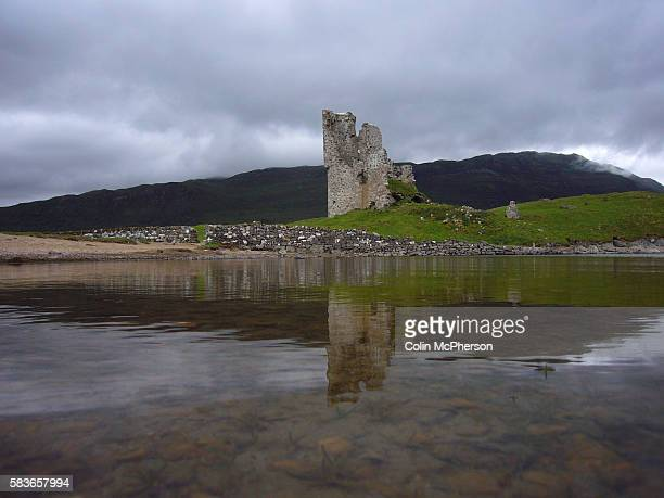 Ardvreck Castle situated on a rocky promontory that juts into Loch Assynt in the northwest of Scotland The threestorey tower was built by the...