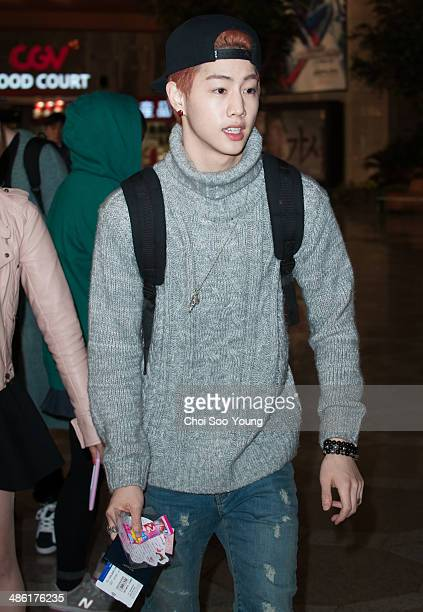 GOT7 are seen at Gimpo International Airport on April 1 2014 in Gimpo South Korea
