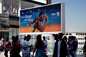 Area around Stratford in East London home to the 2012 Olympic Games Large scale sponsorship advertisement showing Usain Bolt for majoy corporate...