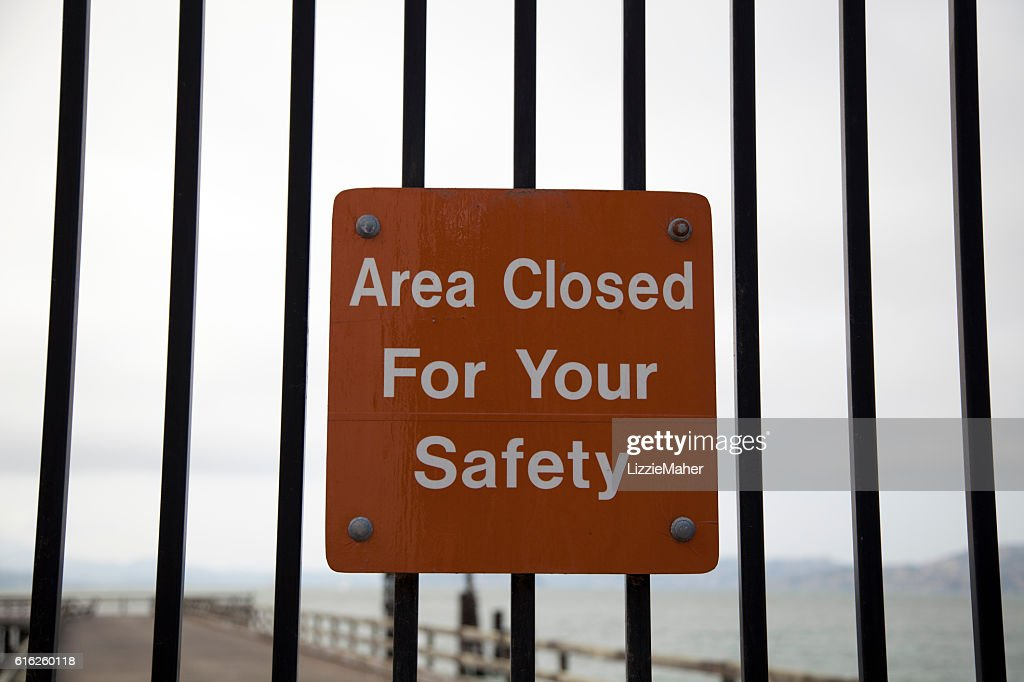 Area Closed For Your Safety Sign : Foto de stock