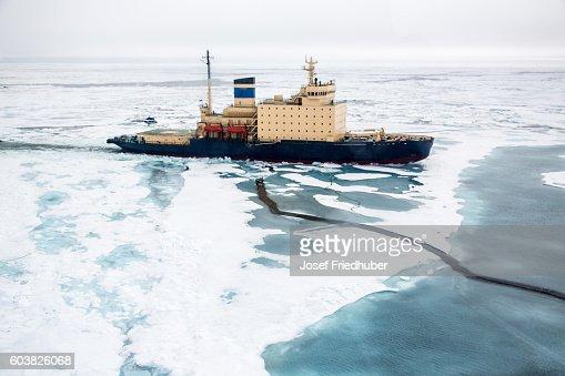 Areal shot of Ice breaker heading in NE Passage